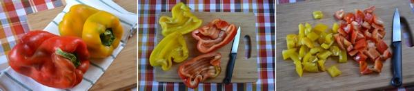 Pasta con melanzane, peperoni e scamorza